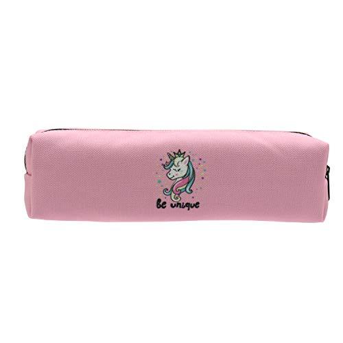 Aiphamy Unicorn Pencil Case Holder Zipper Canvas Pen Pouch Bag for Boys Girls Kids Teens Teenagers Student Women, Pink