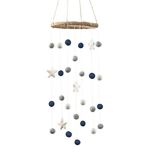 Felt Ball and Star Nursery Ceiling Mobile- Navy, White & Gray