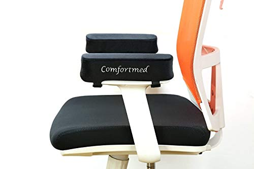 Comfortmed Chair arm Pads Thick (25x10x5cm) Memory Foam Replacement arm pad Rests for Office Chair, Gaming, Cane, Rocking and Wheel Chairs Armpad Cushion Covers Armrests 5cm Thick Elbow Ulnar Nerve