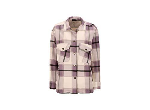 Loomiloo Camicia da donna oversize a quadretti, camicetta in legno a quadretti, a maniche lunghe, con tasche sul petto, camicetta di design Blogger nuova XS-XL 34-42 Lilla M
