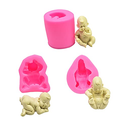 EXQULEG 3 stycken babysilikonformar 3D baby silikonform, handgjord fondant silikonform, för baby shower födelsedagsfest tårta toppning dekoration leveranser