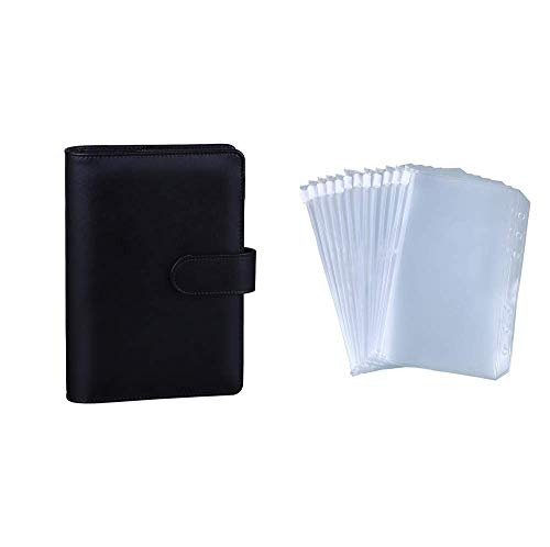 Antner A6 PU Leather Notebook Binder (Black) Bundle   12 Pieces A6 Size Binder Pockets
