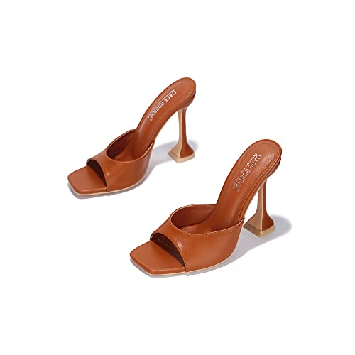 Cape Robbin Lithe Sexy High Heels for Women, Square Open Toe Shoes Heels - Tan Size 10
