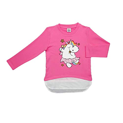 Pummeleinhorn Mädchen Pullover - Pummelfee mit Sternchen (pink/weiß) Größe 116