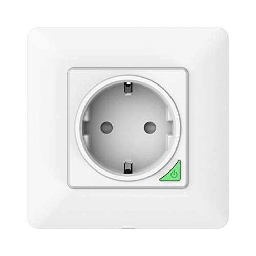 MoKo WiFi Enchufe de Pared Inteligente, [16A, 2.4GHz WiFi] Toma Corriente Integrado Panel de Pared, Funciona con Alexa, SmartThings, Google Home, Atajos de Siri, Temporizador, APP Control Remot/Voz