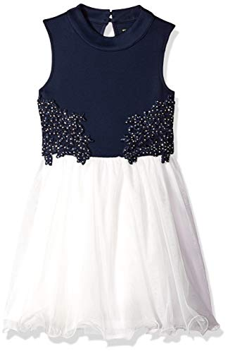 My Michelle Girls' Big Sleeveless Party Dress with Crochet and Tulle, Navy/Ivory, 14