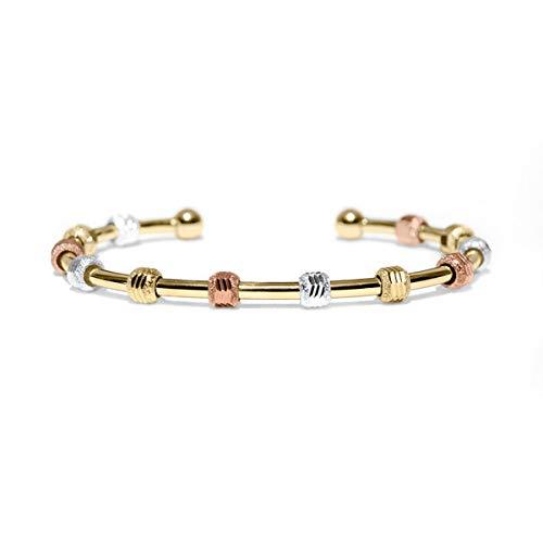 Golf Goddess Stroke/Score Counter Bracelet - Tricolor with Gold Cuff 14k Gold Golf Bag