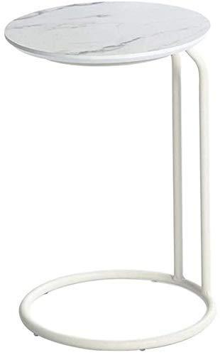 JSONA Mesa de café blanca para ordenador portátil, sofá lateral, parte superior de mármol, café, sala de estar, armario, teléfono, hierro forjado, extremo redondo (color blanco), color blanco