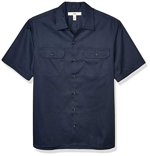 Amazon Essentials Short-Sleeve Stain and Wrinkle-Resistant Work Shirt Hemd, Dark Navy, Small