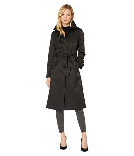 LAUREN RALPH LAUREN Long Raincoat w/Hood and Piping Black XL