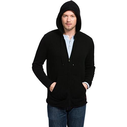 318MQK6HGjL. SS500  - Citizen Cashmere Long Sleeve Zip-up Hoodies for Men - 100% Tibetan Yak Wool (Kangaroo Pockets)