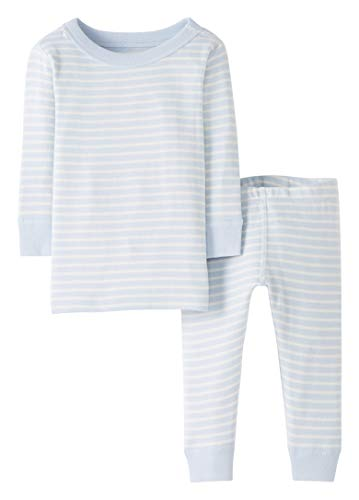 Moon and Back by Hanna Andersson Baby/Toddler 2-Piece Organic Cotton Long Sleeve Stripe Pajama Set, Blue Stripe, 2T