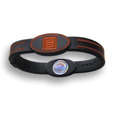 Pure Energy Flex Balance Band - Hologram Frequency Embedded Technology Silicone Bracelet (Black/Orange, S)