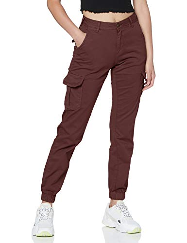 Urban Classics Damen Ladies High Waist Cargo Pants Hose, Cherry, 30