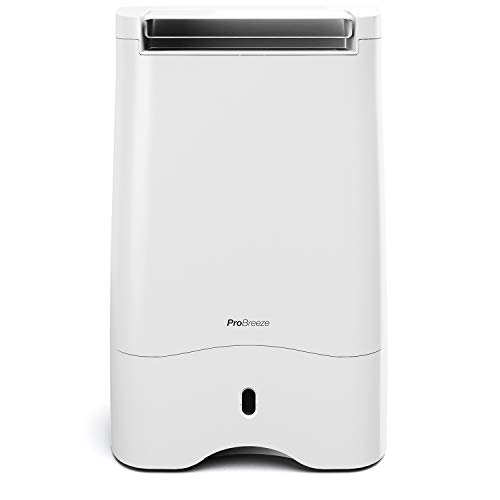 Pro Breeze? 10L Desiccant Dehumidifier with Timer, Air Filter, Continuous Drainage, Digital Control Panel - Ideal for Cold Temperatures in Damp Homes, Basements & Garages
