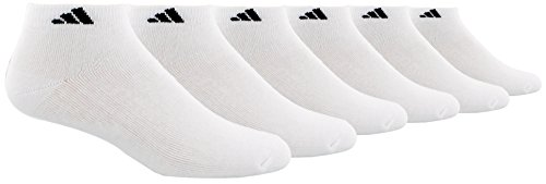 adidas Men's 6-Pack Low Cut Sock, White/Black (Shoe Size 6-12)