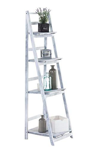 CLP Estantería Escalera Plegable Kirsten En Estilo Rústico I Estantería Librería De Madera con 4 Estantes, Color:Gris