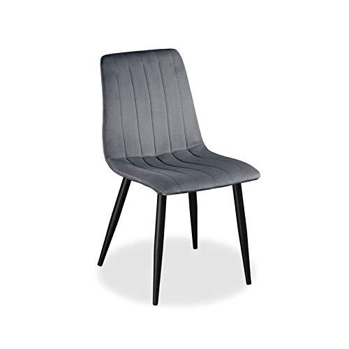 Farris Design Esszimmerstuhl mit Samtbezug, Schwarze Beine, gepolstert, weiches Kissen   Grau   1 STK.