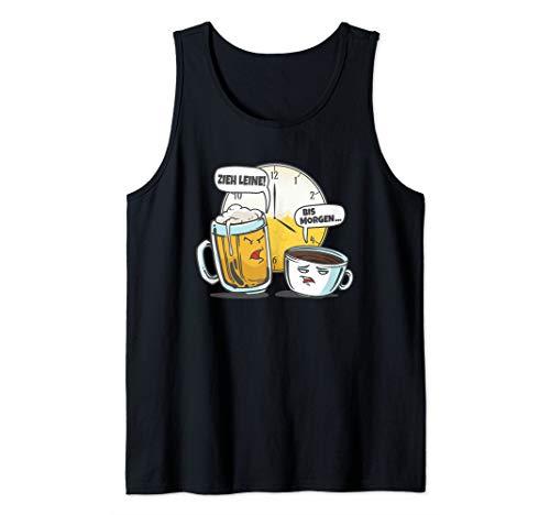 Bier gegen Kaffee um 4 Uhr Lustiges Coffee & Beer Motiv Tank Top