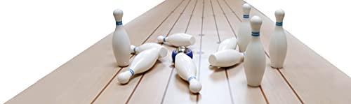 Noris 606101716 - Tisch Bowling, mit ausrollbarer Bowlingmatte für weiteren Spielspaß auch unterwegs, Spielfläche 195 x 38 cm ab 6 Jahren