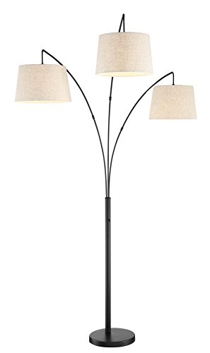 Kira Home Akira 78.5' 3-Light Modern Arc Floor Lamp with Weighted Base & 3-Way Switch, Oatmeal Shades + Oil Rubbed Bronze Finish
