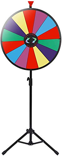 """Smartxchoices 24"""" Spinning Prize Wheel with Height Adjustable Stand 14 Slots Color Prize Wheel Spinner Game with Dry Erase & Marker Pen, Trade Show Carnival Fortune"""