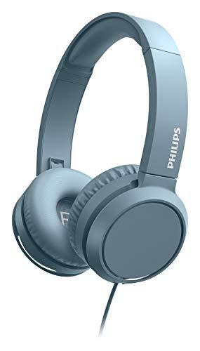 Philips Cuffie Sovrauricolari On Ear H4105BL 00 con Microfono (Telecomando in Linea, Design Pieghevole, Connettore Angolato, Fascia Imbottita, Isolamento Audio) Blu - Modello 2020 2021