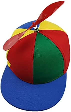 WGMYDY Funny Helicopter Propeller Hat Bamboo Dragonfly Spinning Rainbow Color Matching Baseball Cap Hat Sun Children Boys Girls Elastic Hat (Color : D, Size : A)