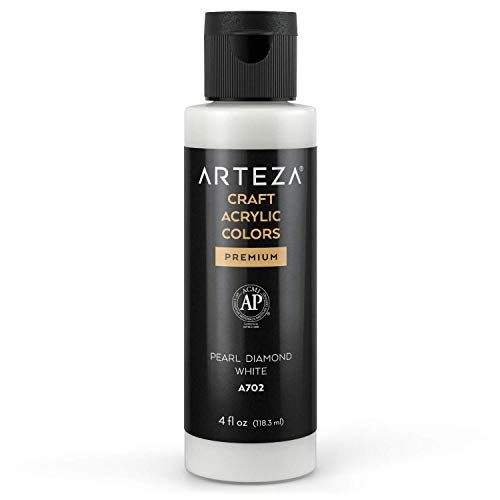 Arteza pintura acrílica para manualidades, Blanco Diamante de Perla A702, bote 118...