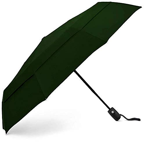 EEZ-Y Travel Umbrellas For Rain - Light-Weight, Strong, Compact with & Easy Auto Open/Close Button for Single Hand Use - Double Vented Canopy for Men & Women,Dark Green