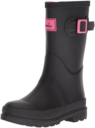Amoji Kid Rain Boots Rubber Garden Shoes Waterproof Boots Children Child Infant Girl Boy Toddler Outdoor Easy On Black 8.5-9 Toddler
