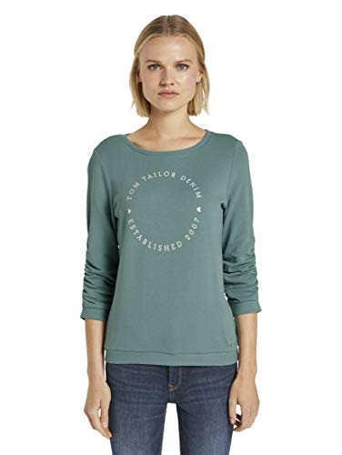 TOM TAILOR Denim Damen Logo Print Sweatshirt, 13178-Mineral Stone Blue, L