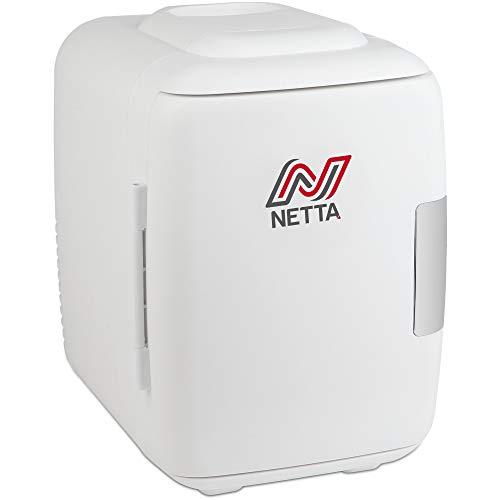 NETTA Mini-Kühlschrank 5L Bier Getränke Tragbar Kleiner Kühlschrank für Schlafzimmer, Wohnwagen, Büro mit Kühl- und Warmhaltefunktion | AC/DC Tragbar | Weiß