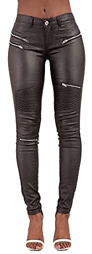 Crazy Lover Damen Kunstleder Leder Look Hosen Damen Biker Stretch Coated Jeans (42, Schwarz)