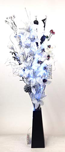 Link Products Handgefertigter Blumenstrauß in Schwarz, Silber und Weiß Inklusive schwarzer Vase aus Holz, beleuchtet 20 Lichter, 85 cm hoch
