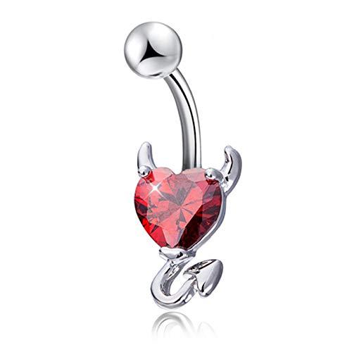 2pcs ombligo ombligo anillo ombligo resplandor amor corazón decoración piercing joyería ombligo uña-rojo