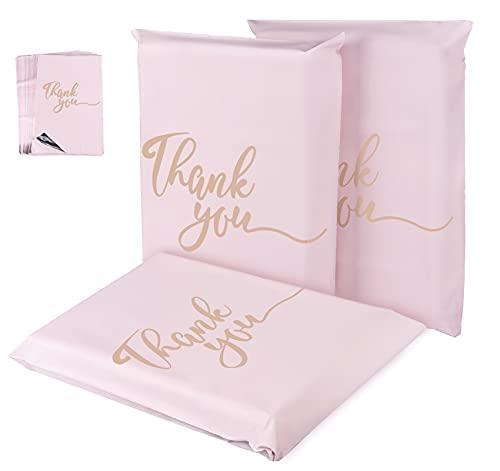 """Homewit - 60 bolsas de envío de plástico para ropa, color rosa champán, 300 x 400 mm, con el texto """"Thank You"""", bolsas de plástico para ropa, autoadhesivas y opacas"""