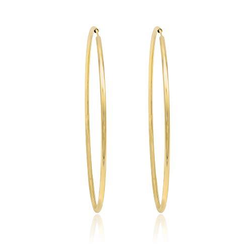 Goldene Ohrringe. 14K. Poliert Tube Creole - Gewicht 3.5 g - Durchmesser Ø 60 mm.