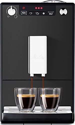 Melitta Caffeo Solo E950-444, Cafetera Automática con Molinillo, 15 Bares, Café en Grano para Espresso, Limpieza Automática, Personalizable, Negro Mate