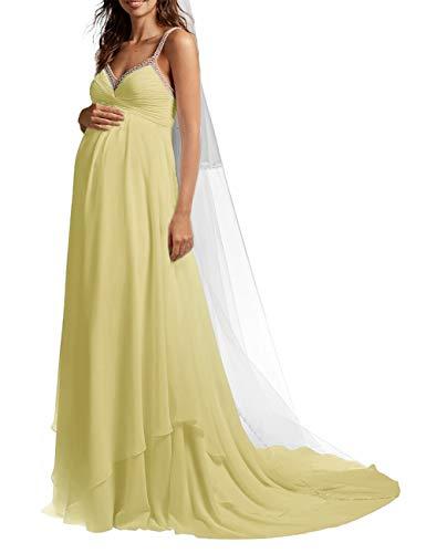 SongSurpriseMall Brautkleid Hochzeitskleid Schwangere Lang Brautkleider Hochzeitskleider Damen Abendkleider Chiffon Sommer Perlen mit Schleppe Gelb EU38