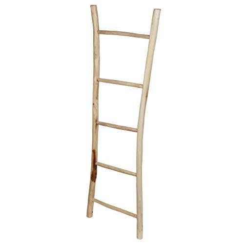 Spetebo Teak decoratieve ladder natuur - 150x48 cm - massief hout wand handdoekhouder houten ladder kledingstandaard