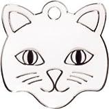 Personalizzata Medaglietta per gatto a forma di muso di gatto in bianco (Piccolo) | SERVIZIO D'INCISIONE | Medaglietta identificativa per animali domestici personalizzata con design alla moda