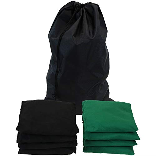 Sunnydaze Green and Black Cornhole Replacement Bean Bags with Carrying Bag, Set of 8