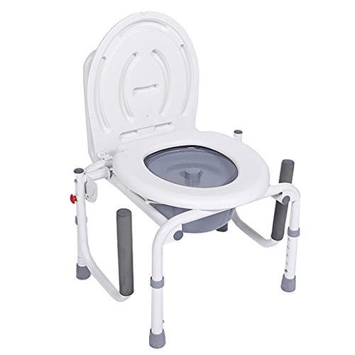 Toilettenrahmen Klappbarer Toilettenstuhl | Nachtstuhl Toilettensitz mit Armlehnen Bad Sicherheitsrahmen Duschstuhl Höhenverstellbar für ältere Menschen, Erwachsene max. 150 kg