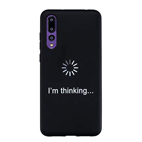 QC-EMART 3PCS Cases for Huawei P20 Pro Silicone Black Matte Finish White Graffiti TPU Gel Rubber Rear Case Bumper Shockproof Back Cover Slim Fit Backcover Phone Skin Shell, Face