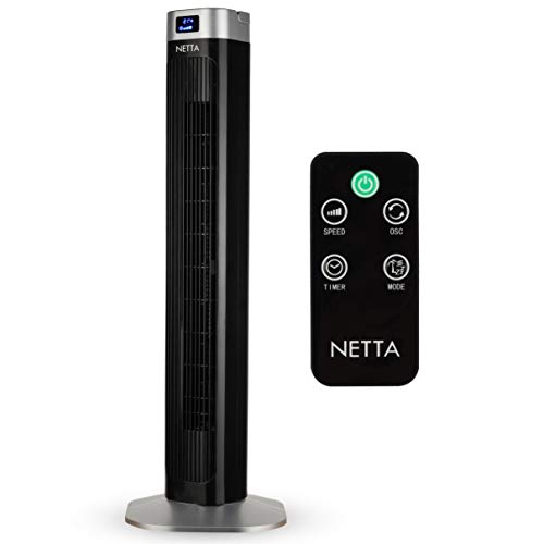 """NETTA - Black Tower Fan with remote control, Oscillating Pedestal Fan, 36"""" height, 3 speed settings, 1-12 h timer, 3 operating modes, 60° oscillating, Cooling Quiet, 1.8M cable."""