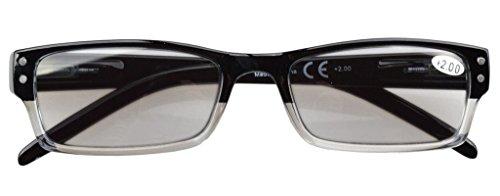 Eyekepper 4-pack Gafas sol de lectura rectangular con bisagras de resorte +2.50