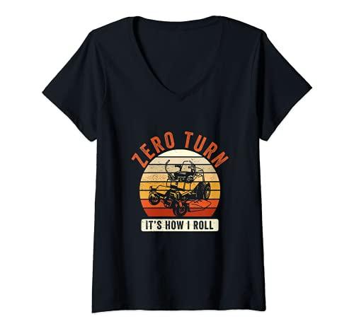 Mujer Giro cero, así es como ruedo Divertido Cortacésped Humor Camiseta Cuello V