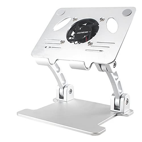JUNCHUANG Soporte de tableta, soporte de enfriamiento plegable de escritorio, soporte de teléfono de la tableta con ventilador de refrigeración para Ipads y teléfonos hasta 12.9