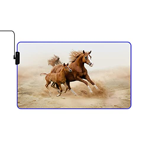NOLYXICI RGB Gaming Mouse Pad Large Extended Soft Led Mouse Pad,Animals Horses and Kids Run in Fields Farm,Non Slip Rubber Base Computer Keyboard Mousepads Mat,for Gaming and Work 23.6x13.9in